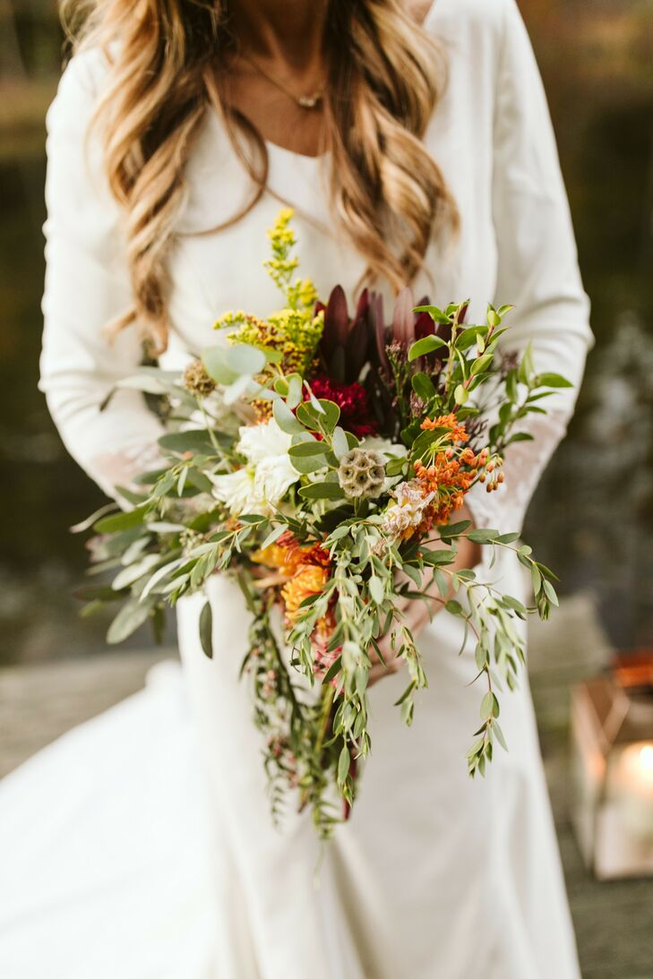 Fall-Inspired Wedding Bouquet with Greenery
