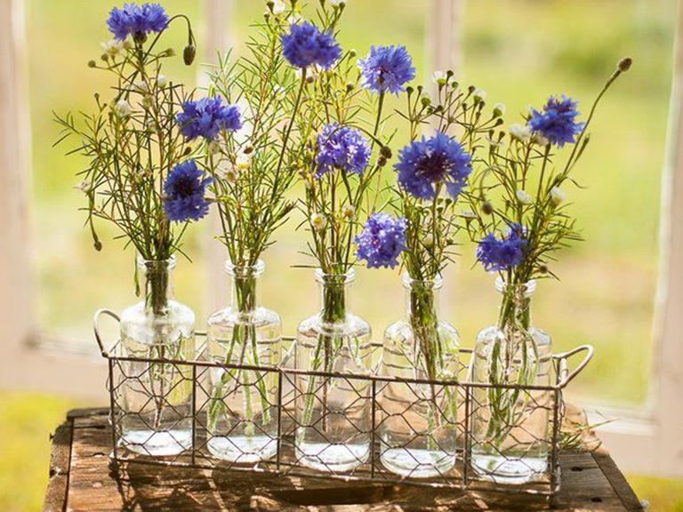 rustic simple floral decor purple