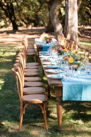 Wooden Banquet Tables With Colorful Centerpieces