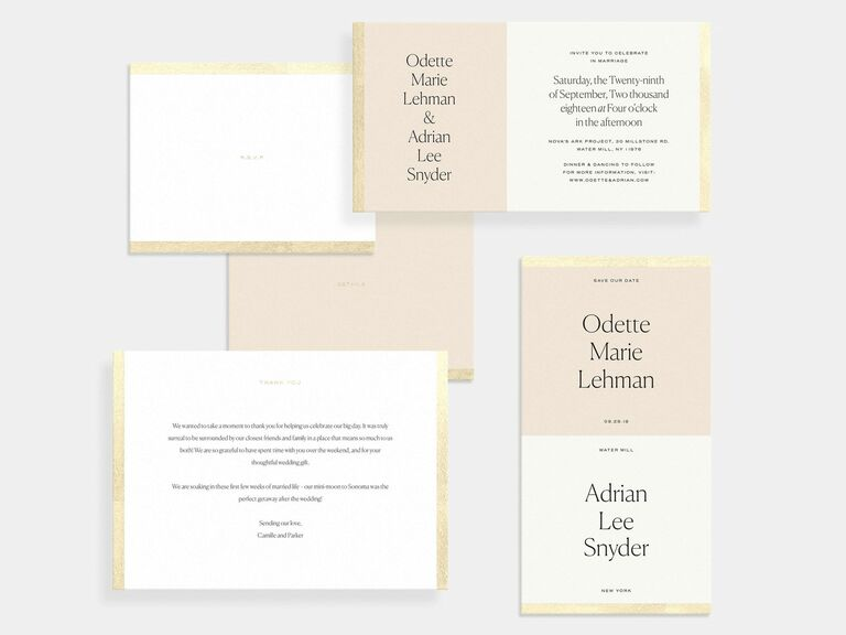 color block wedding invite with gold foil from artifact uprising