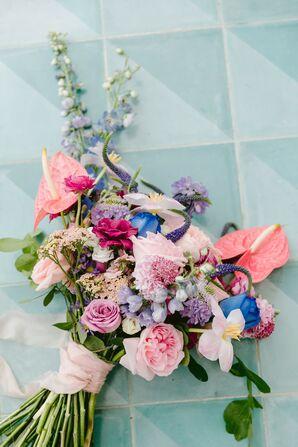 Pink Anthurium Bouquet for Wedding in Tulum, Mexico