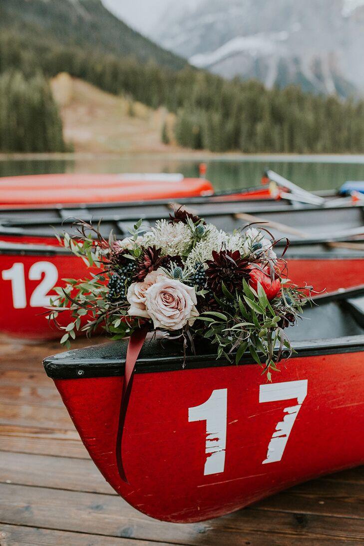 Rustic Bouquet on Waterside Canoe