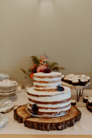 Rustic Semi-Naked Wedding Cake on Wood Slice