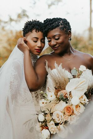 Couple Shares Embrace During Wedding Portraits in Asheville, North Carolina