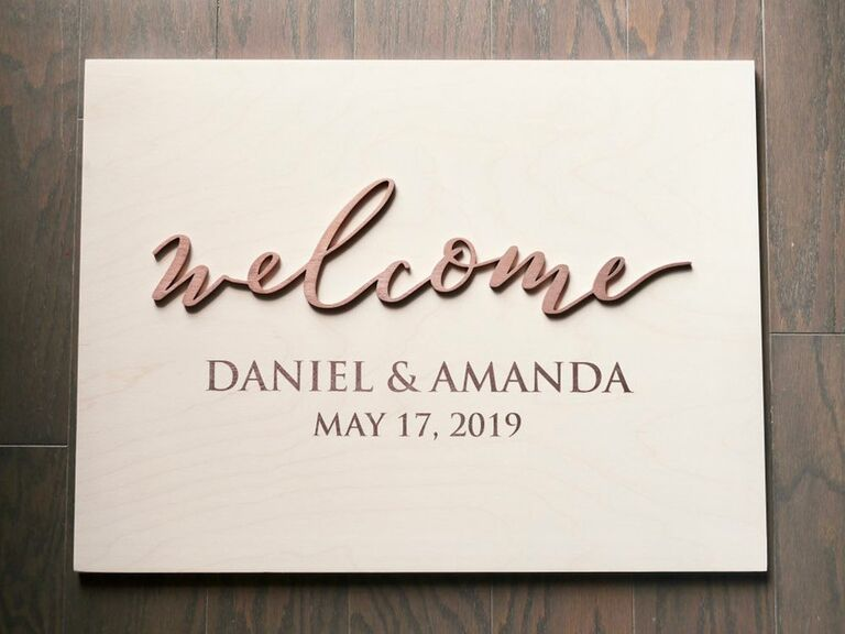 Laser cut wooden wedding welcome sign