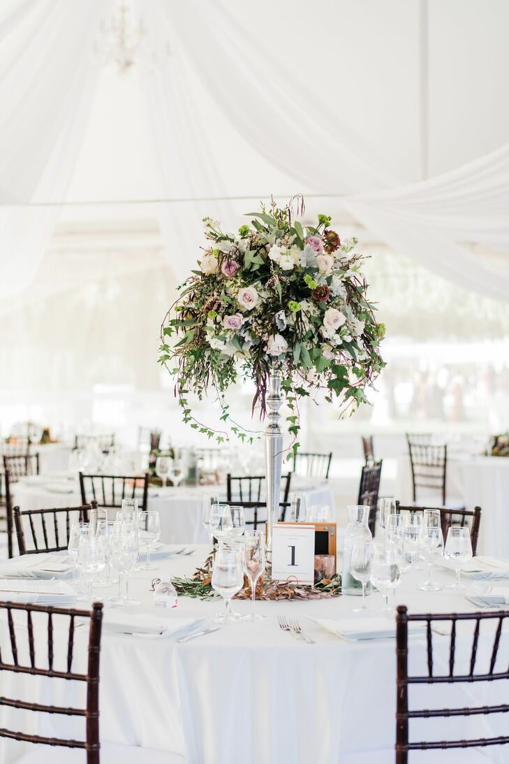 Tented Dining Tables with Tall Romantic Centerpieces
