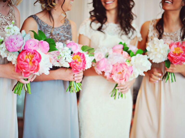 Bridesmaids peony bouquets
