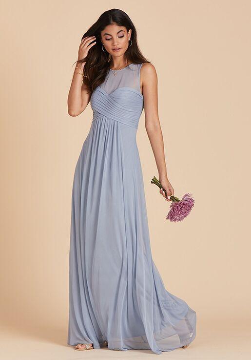 Birdy Grey Ryan Mesh Dress in Dusty Blue Illusion Bridesmaid Dress