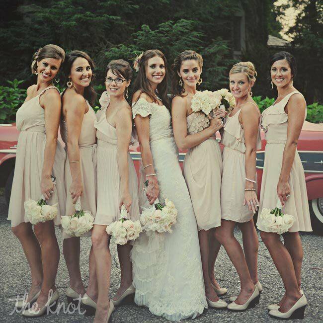 Blush And Nude Bridesmaid Dresses