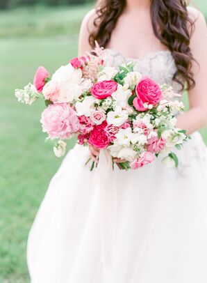 Romantic Pink Bouquet with Roses and Peonies
