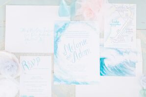 Nautical Watercolor Invitation Suite  with Ocean Illustration