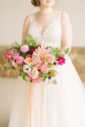 Pink Dahlia and Anemone Bouquet