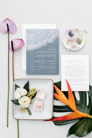 Modern Gray Agate-Inspired Invitations