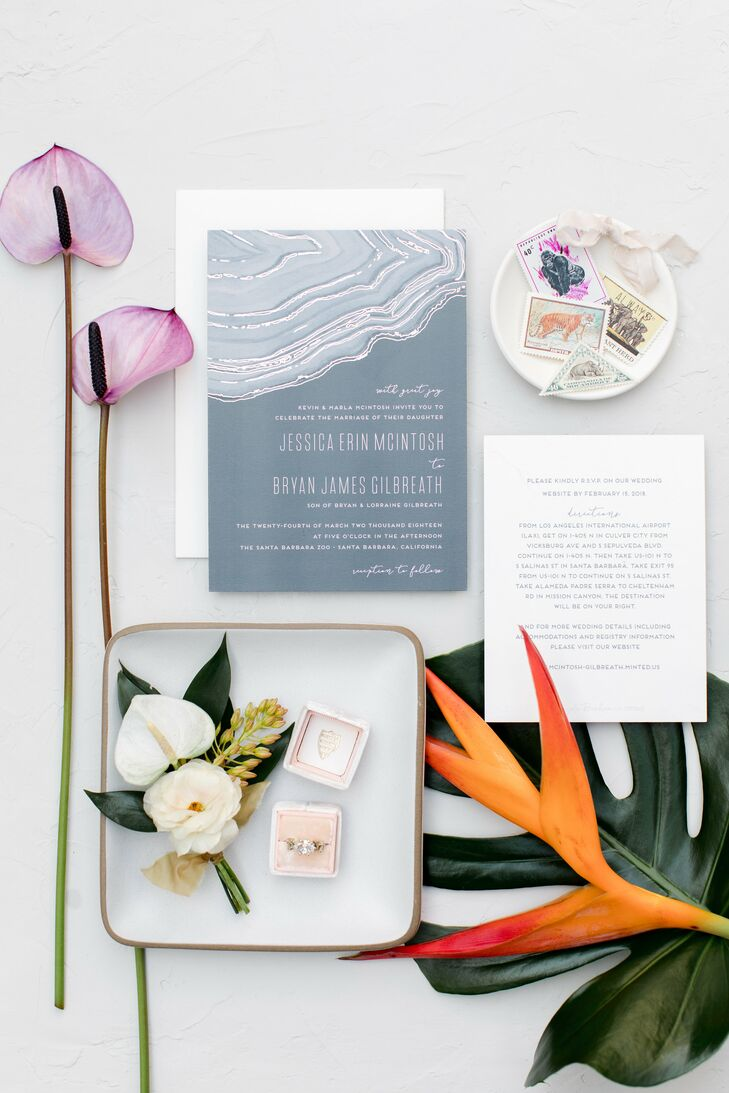 Modern Gray Agate-Inspired Invitations