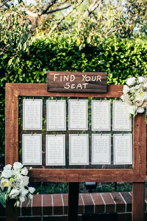 Rustic Framed Wire Seating Chart