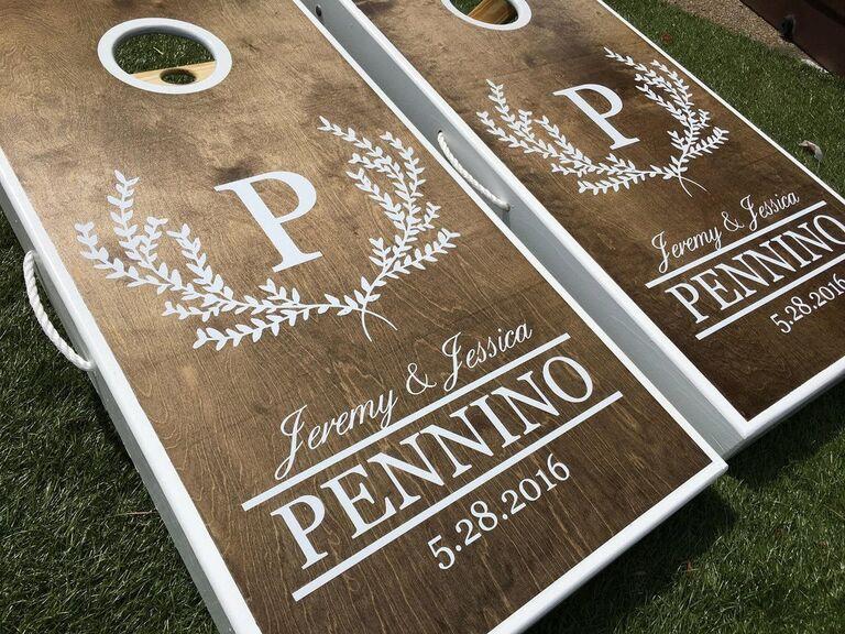 Personalized cornhole boards wedding lawn game