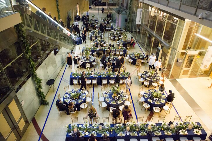 A 30-foot-long garland hung down a wall and decorated the dinner tables. The garland was made from olive branches, which is believed to be a symbol of peace and unity in Judaism.