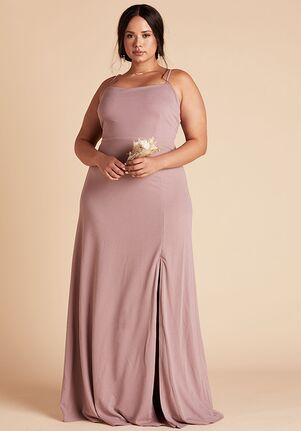 Birdy Grey Benny Crepe Dress Curve in Dark Mauve Scoop Bridesmaid Dress