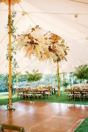 Pampas Grass Chandelier at Bohemian Wedding in Naples, Florida