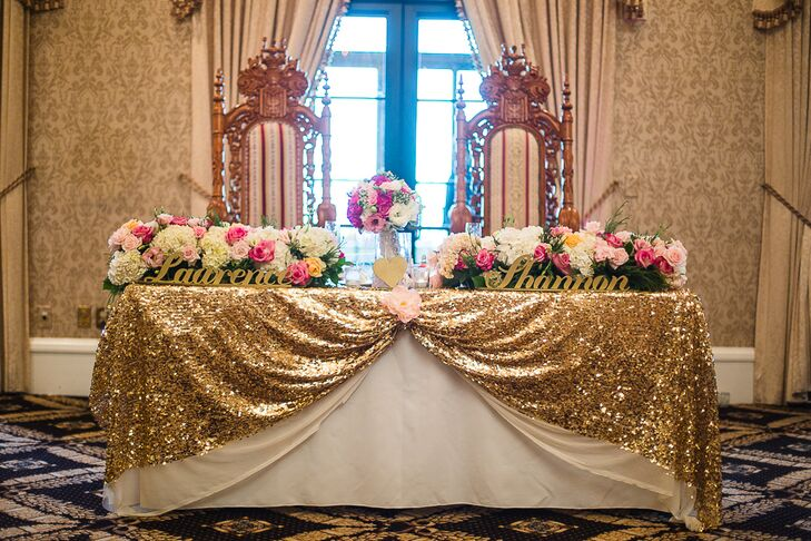 Rose Gold Sequined Table Linens