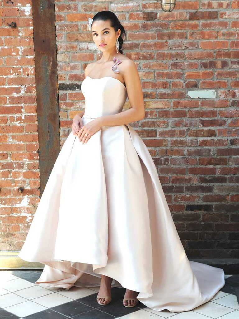 8cb9b4400527 Rebecca Ingram Fall 2018 blush wedding dress with high-low hemline and  sweetheart neckline