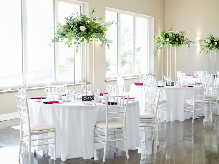 White and Burgundy Reception Tables with Tall Centerpieces