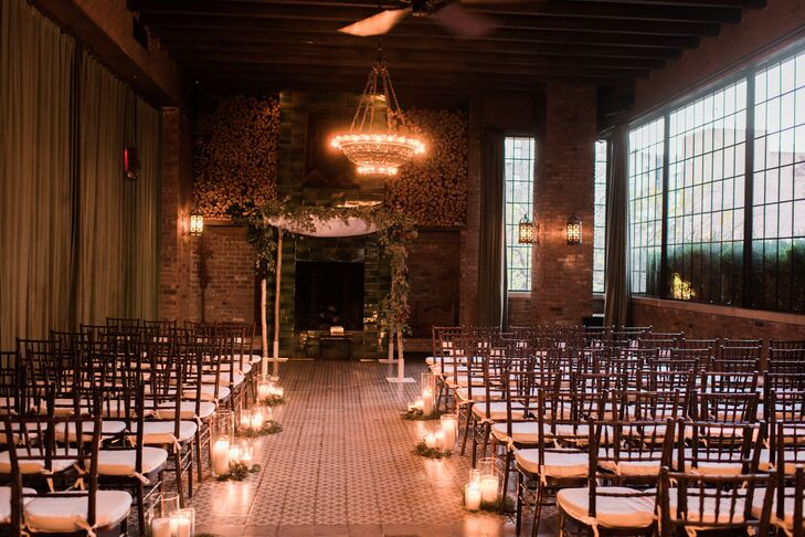 Romantic Pillar Candle-Lined Aisle