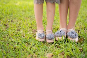 Comfortable Silver Floral Sandals on Lawn