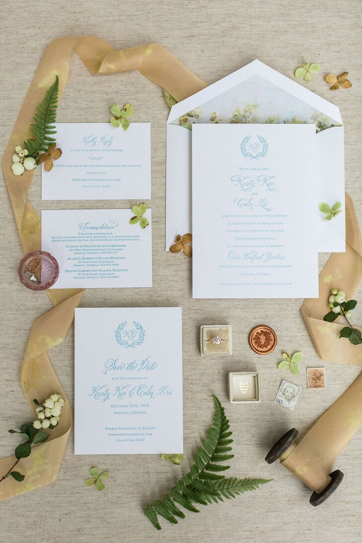 Classic Invitation Suite for Wedding at Cator Woolford Gardens in Atlanta