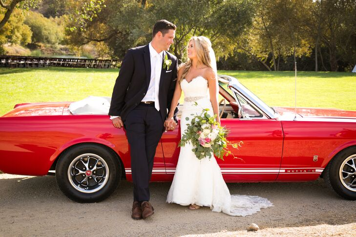 Lindsey's father's bright red 1966 Ford Mustang was a statement piece of the reception, carrying the couple to the festivities. It was parked near the cigar bar for the rest of the evening.
