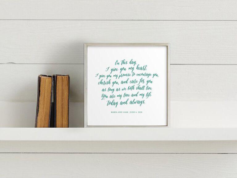 Vow art print wedding gift for bride