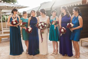 Mismatched Blue, Green, Purple Bridesmaid Dresses