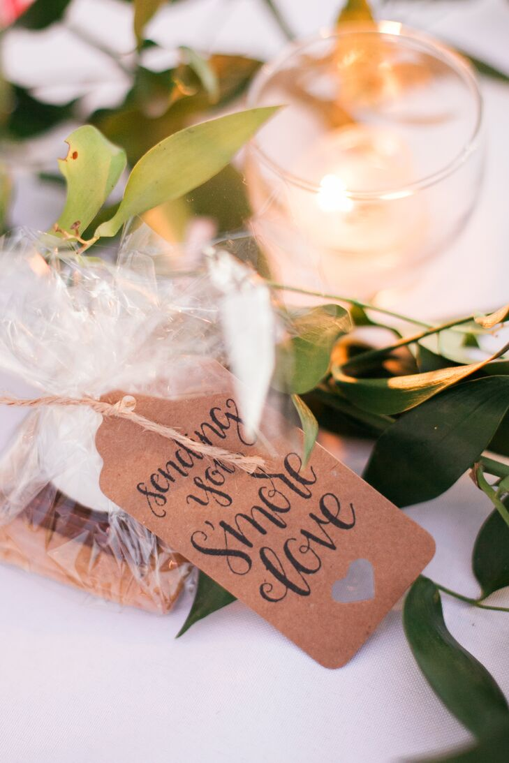 """For our favors we packaged these cute little s'mores treats and they had a tag on it saying, 'Sending you s'more love,'"" Brittany says."