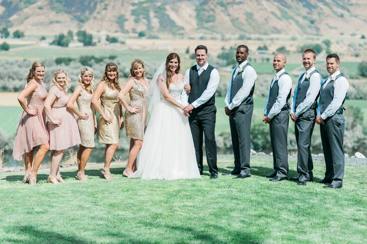 In contrast with the blush bridesmaid shades, the groomsmen wore gray slacks with vests and blush ties. Justin wore a gold tie to set him apart from the rest of the wedding party.