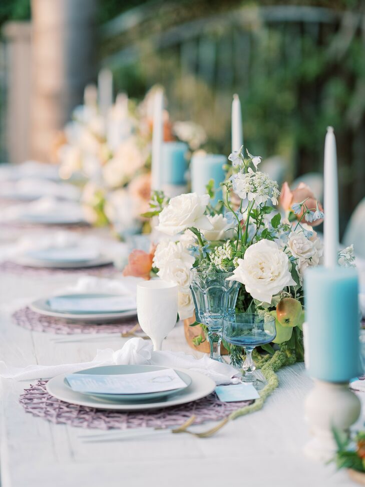 Blue Candle-Clad Tablescape at Beach Wedding in San Diego