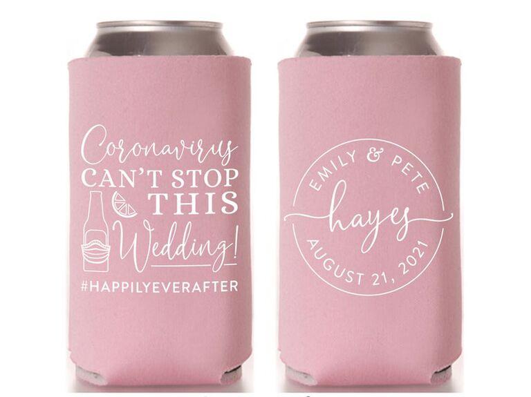 Custom can cooler wedding favor
