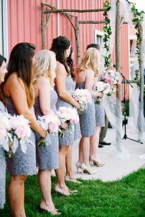 Gray Lace Bridesmaid Dresses