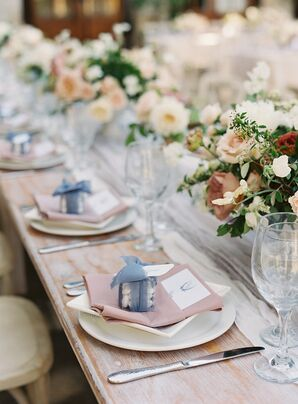 Place Setting with Wedding Favors at Holman Ranch in Carmel Valley, California