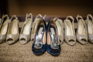 Navy Blue Shoes with Silver Crystal Design
