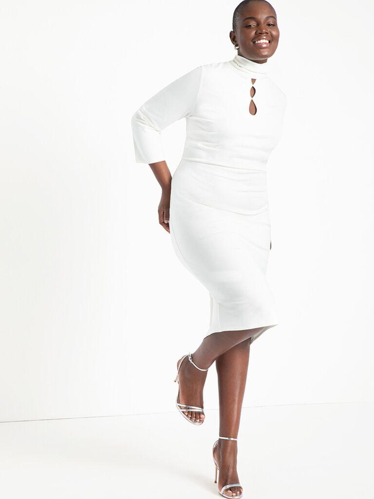 Long sleeve plus size white midi dress with keyhole cutout