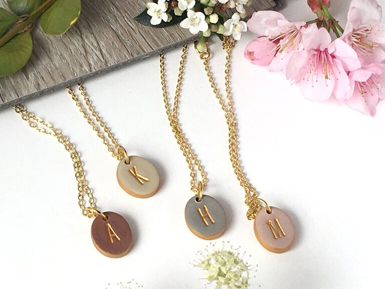 Initial pendant necklaces for bridal party