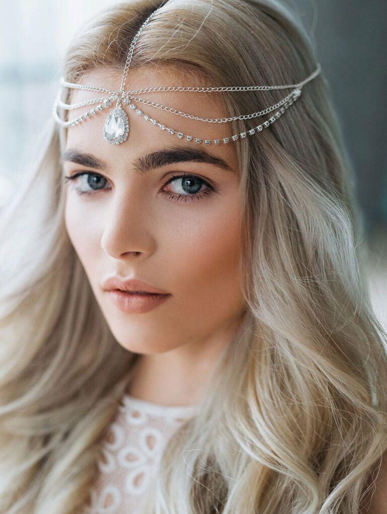 Crystal wedding drop headpiece