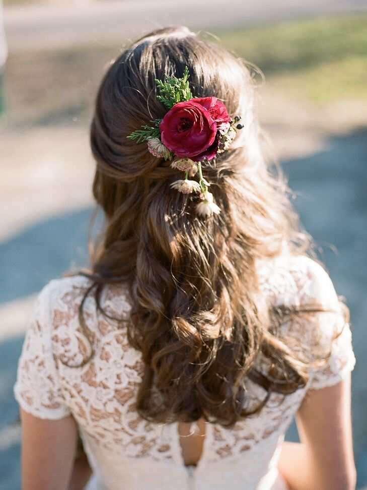 Romantic Curled Half Updo with Red Ranunculuses