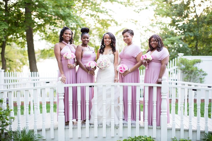 Mismatched Mauve Floor-Length Bridesmaid Dresses