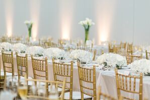 White Hydrangea Centerpieces and Gold Chiavari Chairs