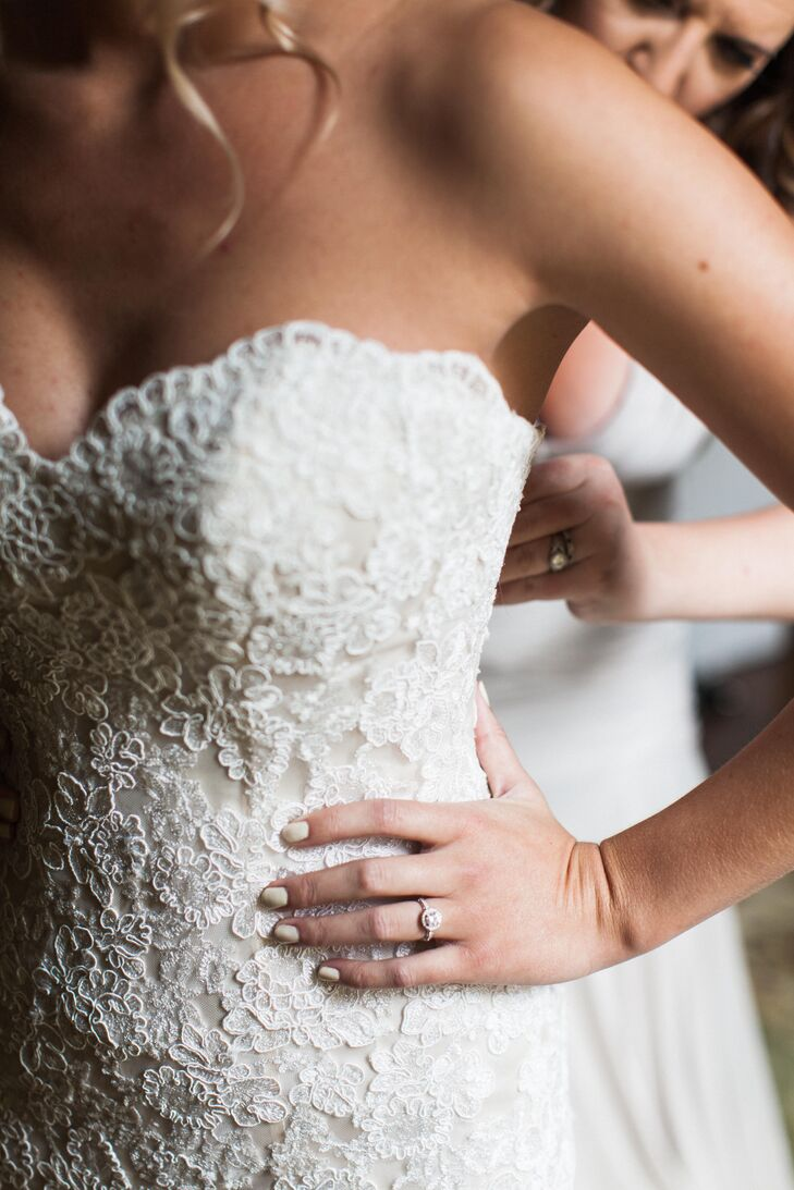 Champagne Wedding Dress With White Lace Overlay