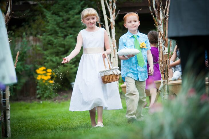 Young relatives of the bride and groom acted as flower girls and ring bearers during the ceremony.
