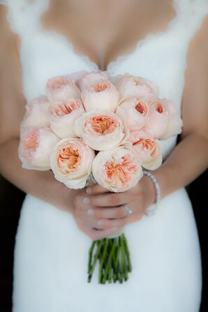 Peach Garden Rose Wedding Bouquet