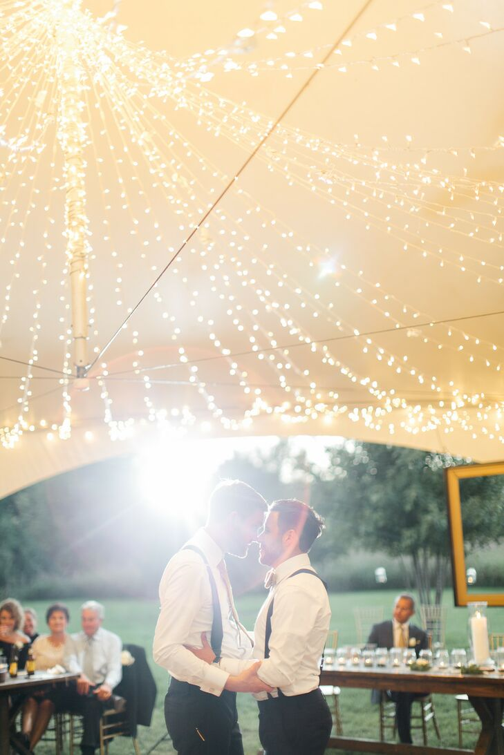 Same-Sex Grooms Share First Dance Under String Lights