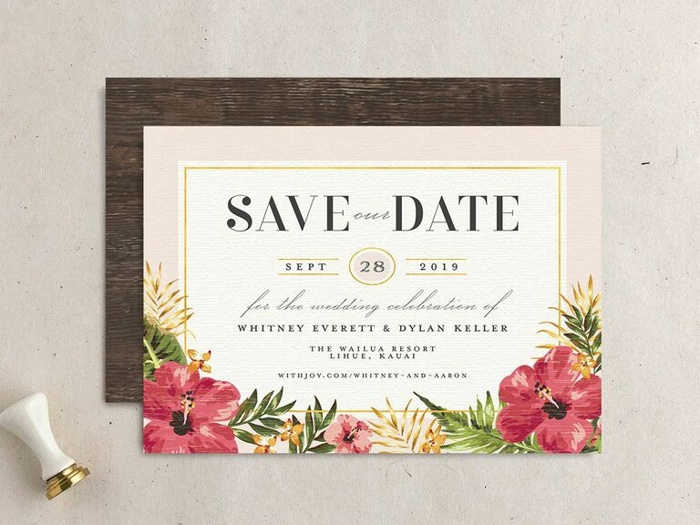 tropical destination wedding save the date